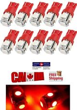 10pcs Red LED 5SMD T10 194 158 168 912 Map Dome License Plate Wedge Light Bulb
