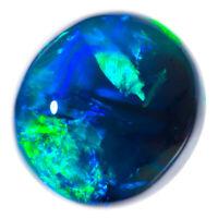 UNBEATABLE SAPPHIRE BLUE GREEN 2.61ct 9x8mm SOLID BLACK OPAL LIGHTNING RIDGE
