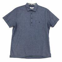 Express Soft Wash PopOver Shirt Mens L Large Blue Dots Short Sleeve Button Up
