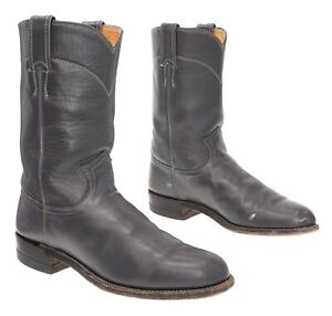 JUSTIN Cowboy Roper Boots 7 B Womens Slate Gray Leather Biker Motorcycle Boots