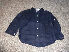 JANIE AND JACK 18-24 NAVY BLUE LINEN SHIRT OUTDOOR PREPPY