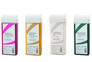4 x Lycon Cartridge 100g Strip Wax: Soberry + Active Gold + Lycotec + Olive Oil