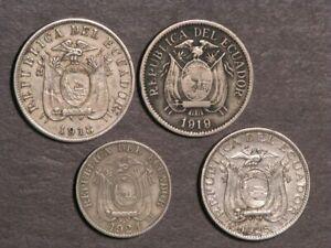 ECUADOR 1918/1919/1924H/1928 5 Centavos F-VF - Lot of 4 Coins