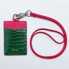 Handmade genuine crocodile work neck lanyard ID Badge Card holder Free Shipping