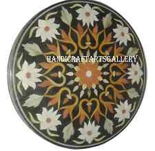 2.5' Black Marble Table Top Christmas eve Inlaid Hakik Floral Decor Home H945A