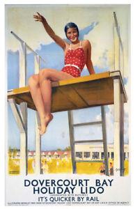 Vintage Dovercourt bay holiday lido Railway Travel Poster Print Art A1/A2/A3/A4