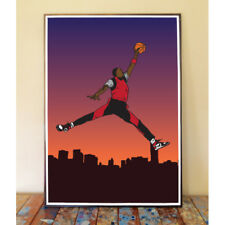 AIR JORDAN JUMPMAN LOGO DUNK 1985 BRED OG SUNSET CHICAGO BULLS NBA ART PRINT