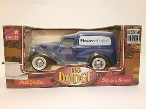 "New in Box Liberty Classics 1936 Dodge ""Master Plumber"" Blue Panel Truck Bank"