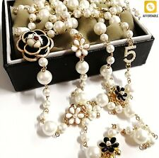 Pearl Necklace For Women Simulated Double Layer Pendant Long Necklace Jewelry