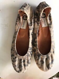Lanvin Womens Leather Leopard Print Ballet Flats Brown Black Size 6