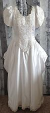 Private Label By G Satin Wedding Bridal Gown Dress Sequin Beaded Lace White 12
