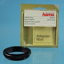Hama inversione-Anello/Adattatore revers Canon Ø m52 9504/52 - (0135)