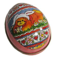 Vintage Pink Lucy Rigg Teddy Bear Easter Egg Tin