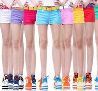 Summer Denim Shorts For Women Cotton Candy Color Short Jeans For Women Mid Waist