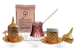 Gold Turkish Coffee Espresso Set:2 Cups, Cezve-Pot,Gift Coffee,Copper,Porcelain