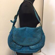 LUCKY BRAND Turquoise Italian Lamb Leather Stash Bag Handbag Shoulder Purse