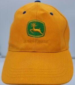 John Deere Logo Hat Hook And Loop Strapback Black Yellow And Green