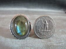 Iridescent Labradorite Blue Fire Ring Sterling Silver Size 9  11.81 Carats