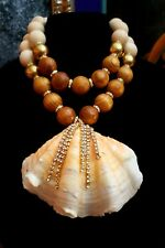 Clam Shell Statement Pendant Katrox Oversized Wood Ball Necklace Mermaid Cruise
