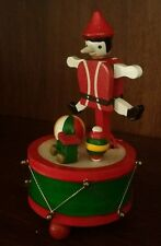 Vintage Rare Christmas Wood Pinocchio On Drum, Musical Wind-Up Collectible,Works