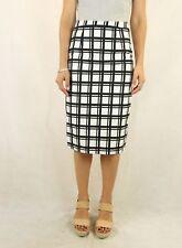 SPORTSGIRL Black & White Cotton Check Pencil Skirt Size 10