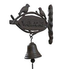 cloche sonnette clochette d entrée de porte portail en fonte murale oiseau 22cm
