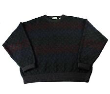 Vintage 1990s 90s Diamond Print Wool Blend Sweater Made in Italy Mens Size Large