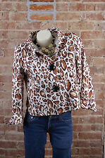 ANDRE OLIVER Womens Crop Short Coat Jacket Blazer Sz8 Animal Print Cheetah Lined