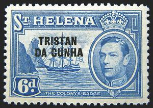 Tristan da Cunha Stamp 1952 6d King George VI Scott # 7 SG7 MINT OG H