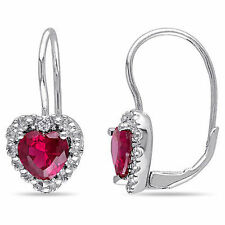 Sterling Silver Heart Red Ruby 3.25 Ct TCW Diamond Leverback Earrings I3