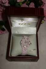 Oniss Paris Women's Diamond Accented Pink Hi tec Ceramic / gold Watch new