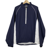 Footjoy Golf Mens Windbreaker Jacket 1/2 Zip Pullover Long Sleeve Nylon Blue XL