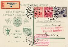 TSCHECHOSLOWAKEI 1927 Erstflug Prag - Breslau R-So Karte