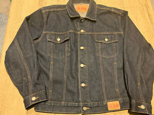 Vintage GUESS Georges Marciano Blue Denim Jean Jacket mens Medium Made in USA