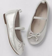 BABY GAP GIRL SILVER MARY-JANE BALLET SHOES NWT 7 N12