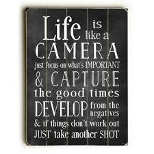 One Bella Casa 0004-7512-26 14 x 20 in. Life is Like a Camera Planked Wood Wa.