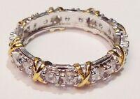 bague alliance argent rhodié style joaillerie cristaux diamant croix T.57