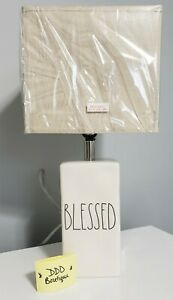 NEW Rae Dunn 2021 LL 'BLESSED'  Ceramic Table Lamp White Black Letters w/ Shade