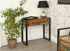 Urban Chic Furniture Reclaimed Wood Console Table with Drawers Steel Frame
