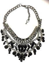 Woman's  Black Necklace Fashion Goth Gem Chain Chunky