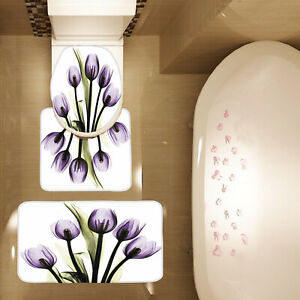 3 Piece Tulip Purple Flower Print Bath Mat Set Bath Mat Contour Mat Toilet Cover