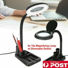 Black Magnifying Glass Table Lamp With 5X 10X Magnifier With 36 LED Lights