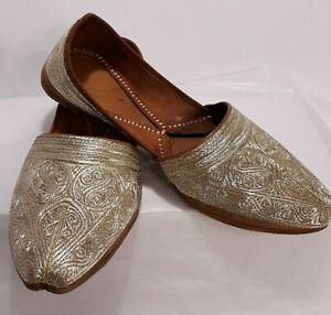 Khussa Mojari Men's Gold Slip On Loafers Shoes 8.5 Women's 10
