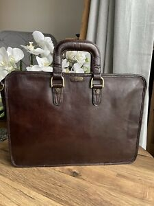 Hidesign Leather briefcase bag document case real leather - brown