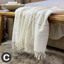 Luxury Ivory Blush Pink Woollen Touch Blanket Throw Checked Fringe Sofa Bed