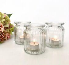 BULK BUY Ribbed Clear Glass Tea Light Holder Candle Votive Wedding Table Decor