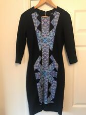 Ladies M&S Limited Collection Navy Blue Fitted Stretch Dress UK Size 8 Abstract