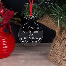 Personalised Acrylic Our First Christmas As Mr & Mrs Xmas Tree Decoration Bauble