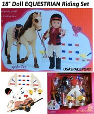 """18"""" Doll Deluxe HORSE RIDING Equestrian Set SADDLE Helmet for American Boy Girl"""