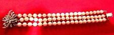 Vintage14K White Gold Diamond 3 Strand Akoya Cultured Pearl 7 mm  Bracelet